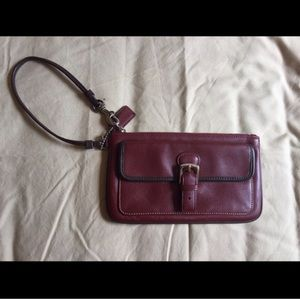 Red Vintage Coach Leather Wristlet